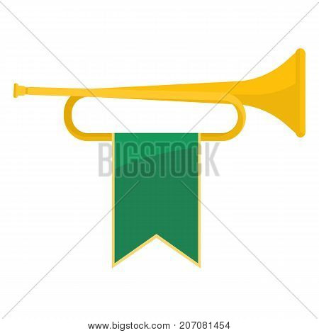 Golden bugle with green ribbon on it, brass instrument represented alone, icon on vector illustration isolated on white background