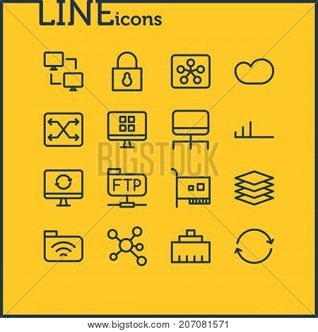 Editable Pack Of Archive, Router, Change And Other Elements.  Vector Illustration Of 16 Network Icons.