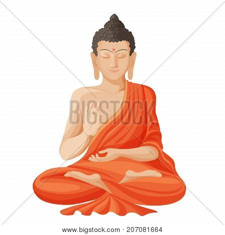 Gautama buddha with closed eyes and raised right hand, sitting and meditating, dressed in clothes realistic vector illustration isolated on white