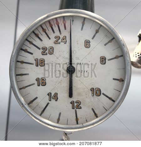 Old Vintage barometer with based on a white background isolated 0-240.