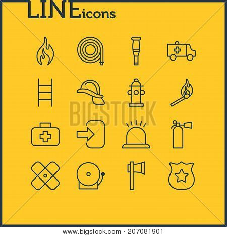 Editable Pack Of Fire, Siren, Adhesive And Other Elements.  Vector Illustration Of 16 Emergency Icons.