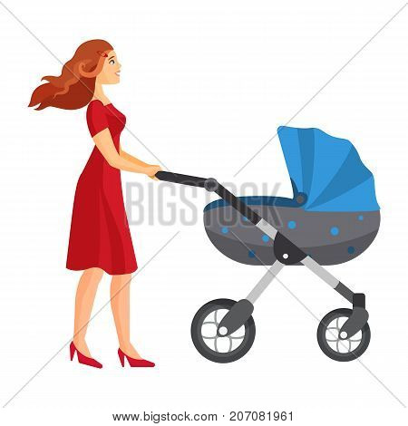 Buggy fit ultimate outdoor fitness class mother jogging with stroller vector illustration. Mother carrying blue pram on walk vector isolated on white