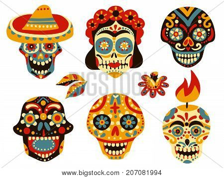 Mexican day of dead traditional colorful ornamental skull symbols icons collection with mask in sombrero isolated vector illustration