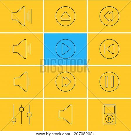 Editable Pack Of Volume Up, Rewind, Start And Other Elements.  Vector Illustration Of 12 Music Icons.