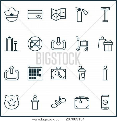 Traveling Icons Set. Collection Of Airplane Information, Shopping, Forbidden Mobile And Other Elements