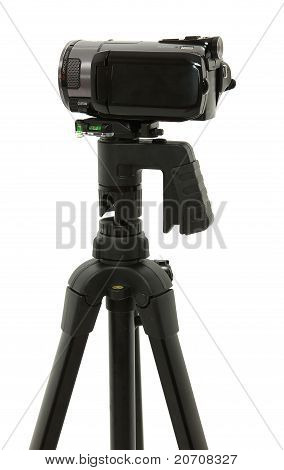 Side View Of Hd Camcorder On Tripod