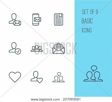 Communication Icons Set. Collection Of Society, Confirm, Online Letter And Other Elements