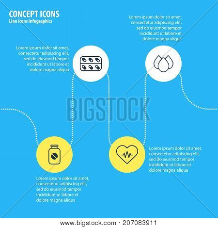 Editable Pack Of Aspirin, Trickle, Medicine And Other Elements.  Vector Illustration Of 4 Health Icons.