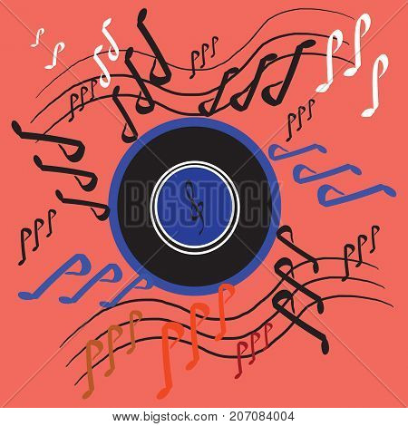 Disc with Music Colorful Note Vector, modern background