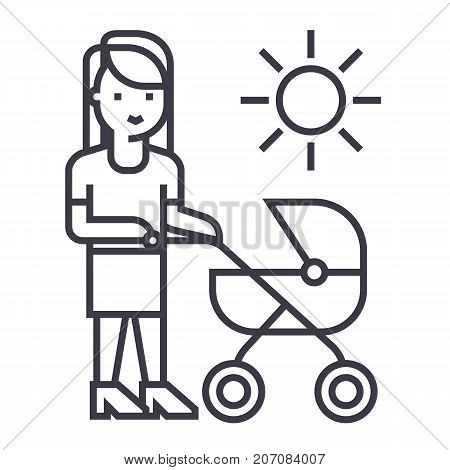 mother with baby stroller vector line icon, sign, illustration on white background, editable strokes