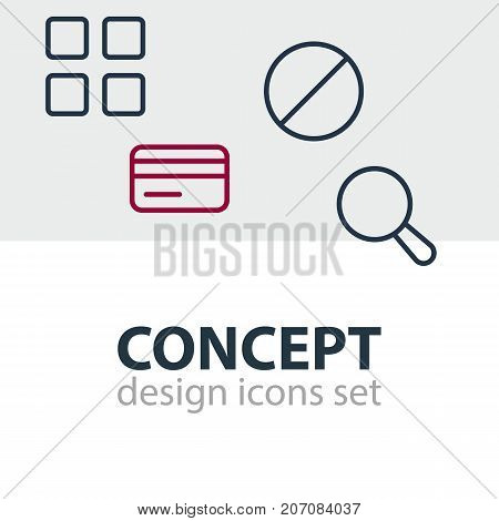 Editable Pack Of Payment, Magnifier, Cube And Other Elements.  Vector Illustration Of 4 Annex Icons.