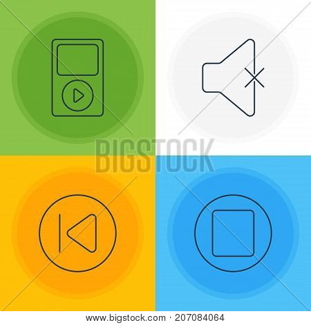 Editable Pack Of Pause, Soundless, Mp3 And Other Elements.  Vector Illustration Of 4 Melody Icons.