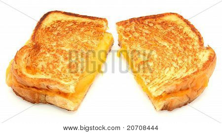 Grilled Cheese Sandwich Isolated On White