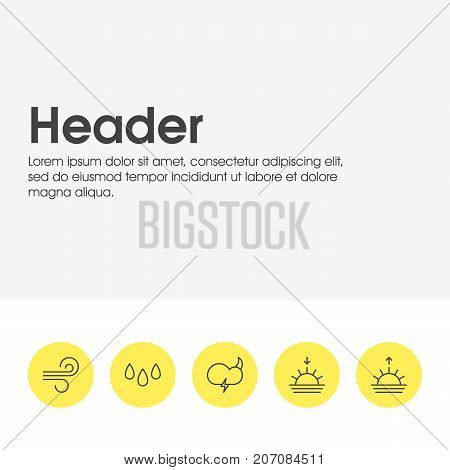Editable Pack Of Sunrise, Drip, Weather And Other Elements.  Vector Illustration Of 5 Sky Icons.