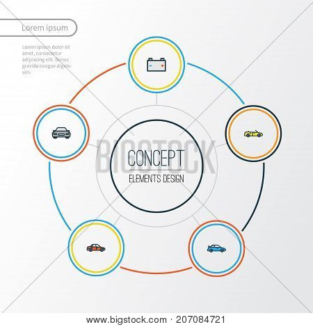 Car Colorful Outline Icons Set. Collection Of Accumulator, Car, Sport And Other Elements