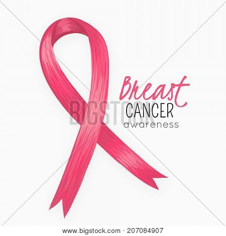 National Breast Cancer Awareness Month. Pink ribbon. October. Women health. Female Disease. Oncology. Background with symbol. Card banner or poster. Vector illustration eps10