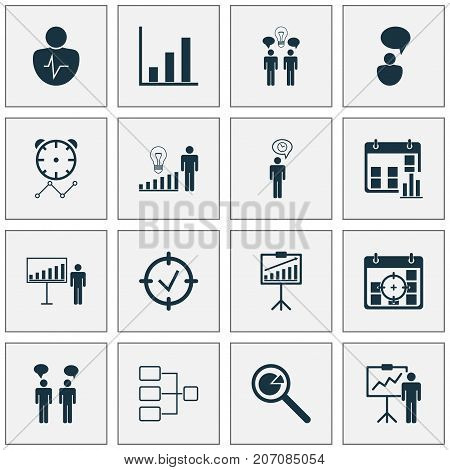 Administration Icons Set. Collection Of Opinion Analysis, System Structure, Report Demonstration And Other Elements