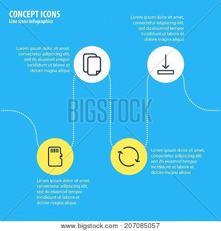 Editable Pack Of Documents, Synchronize, Download And Other Elements.  Vector Illustration Of 4 Memory Icons.