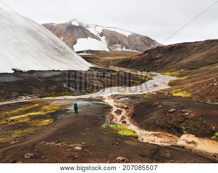 Highland route through the snow streams and colored mountains in the Landmannalaugar valley Iceland