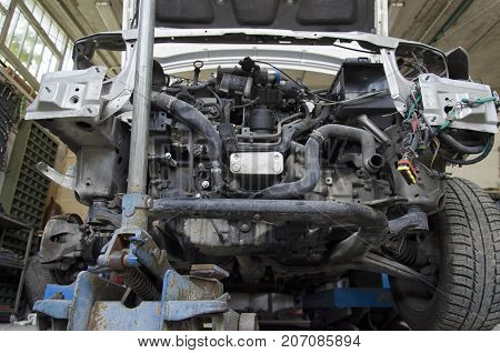 View of the radiator of an incident car