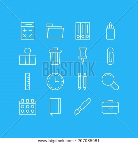 Editable Pack Of Archive, Paint, Calculate And Other Elements.  Vector Illustration Of 16 Instruments Icons.