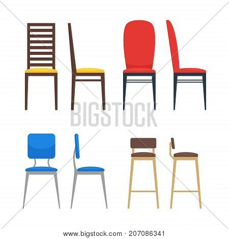 Colorful chairs icon set. Home seating furniture for living room or kitchen. Flat stool collection. Side view and front view. Vector illustration on white background.