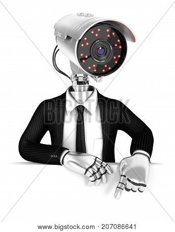 3d security agent with camera head pointing to empty wall illustration with isolated white background