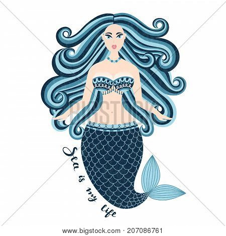 Mermaid. Hand drawn sea girl. Beautiful woman with tail. Marine summer design. Nixie with wild hair. Summertime. Poster invitation card cover banner Vector eps10