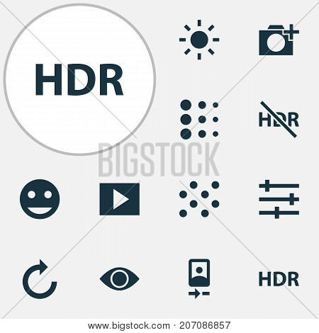 Photo Icons Set. Collection Of Photographing, Hdr Off, Eyesight And Other Elements