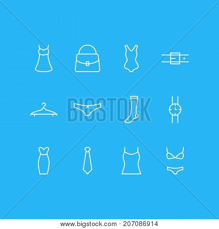 Editable Pack Of Cravat, Panties, Strap And Other Elements.  Vector Illustration Of 12 Clothes Icons.