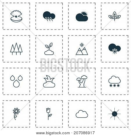 Landscape Icons Set. Collection Of Love Flower, Sunny Weather, Cloud And Other Elements