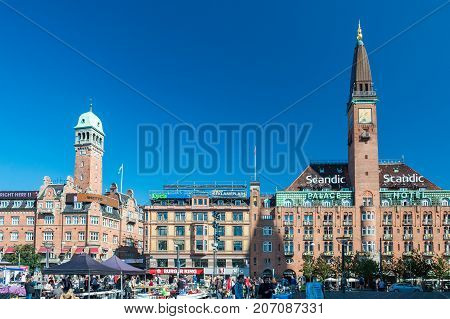 Copenhagen Denmark - september 3 2017: City Hall Square is a public square in the centre of Copenhagen located in front of the Copenhagen City Hall. It is often used as a central point for measuring distances from Copenhagen.