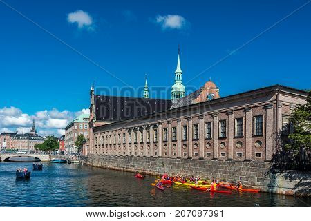 Copenhagen Denmark - september 3 2017: The Church of Holmen is a Parish church on the street called Holmens Kanal. It is famous for having hosted the wedding between Margrethe II of Denmark current queen of Denmark and Prince Henrik in 1967.