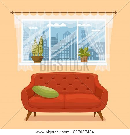 Living room cozy interior with colorful sofa, pillow, carpet, table with cup and vase flowers. Vector illustration of home design with furniture and window with curtains and house plants potted. Flat style.