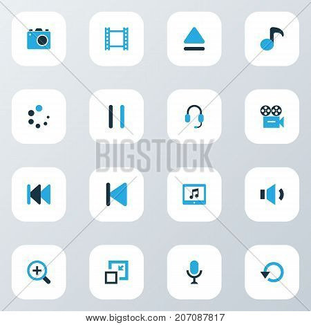 Media Colorful Icons Set. Collection Of Quaver, Volume Down, Decrease And Other Elements