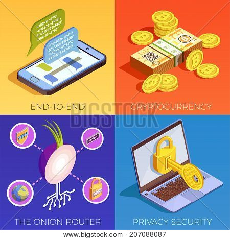 Data encryption cyber security isometric 2x2 design concept with end-to-end encryption and privacy pictograms vector illustration