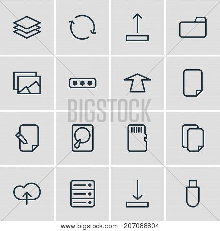 Editable Pack Of Layer, Upward, Synchronize And Other Elements.  Vector Illustration Of 16 Storage Icons.