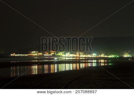 Arambol village in Goa at deep night