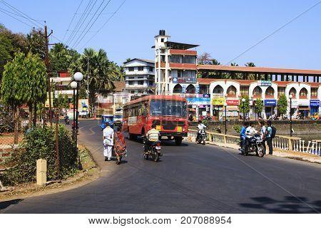 Maharashtra India - February 13 2016: Sawantwadi city with big traffic
