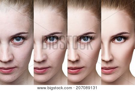 Young woman applying make-up step by step. Before and after make-up and retouch.