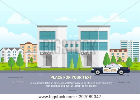 City police station with place for text - modern vector illustration on urban background, nice park with trees. Blue sky with clouds