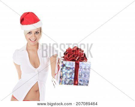 santa woman holding gift box over white