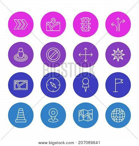 Editable Pack Of Orientation, World, Stoplight And Other Elements.  Vector Illustration Of 16 Location Icons.