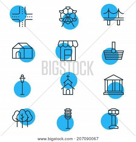 Editable Pack Of Forest, Basket, Courthouse And Other Elements.  Vector Illustration Of 12  Icons.