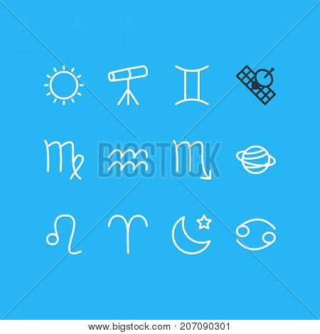 Editable Pack Of Zodiac Sign, Night, Saturn And Other Elements.  Vector Illustration Of 12 Constellation Icons.