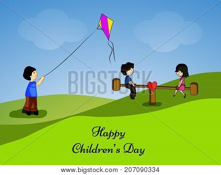 illustration of kids flying a kite and playing seesaw with Happy Children's Day text on the occasion of Children's Day