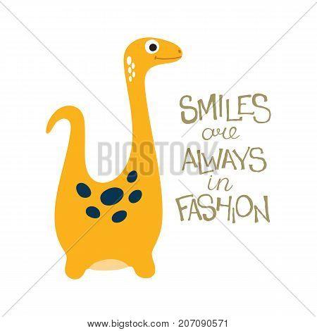 Cute cartoon dino illustration. Smiles are always in fashion