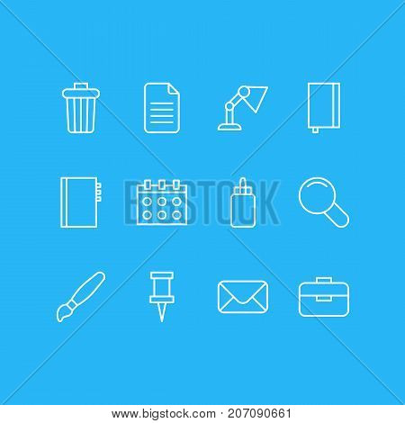 Editable Pack Of Folder, Adhesive, Textbook And Other Elements.  Vector Illustration Of 12 Instruments Icons.