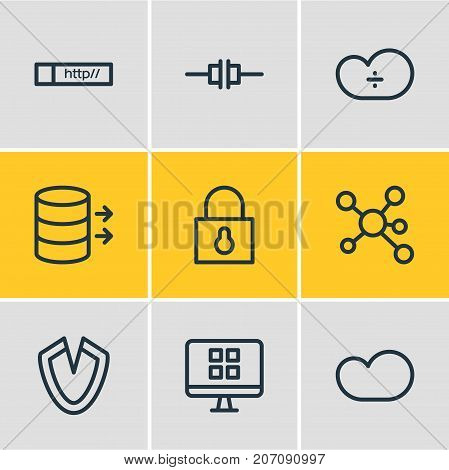 Editable Pack Of Cloud Storage, Padlock, Link And Other Elements.  Vector Illustration Of 9 Network Icons.