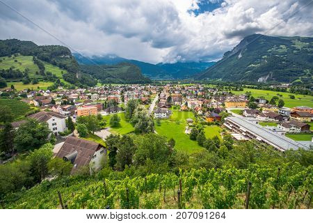 Landscape view on Balzers village in Liechtenstein